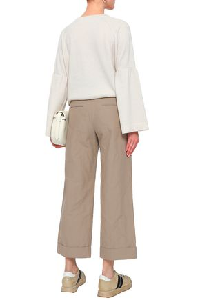 BRUNELLO CUCINELLI Cropped cotton-blend canvas wide-leg pants