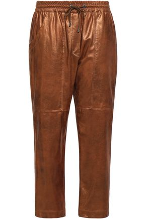 BRUNELLO CUCINELLI Cropped metallic leather track pants
