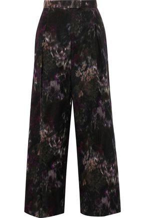 VALENTINO Cropped printed cotton and silk-blend wide-leg pants