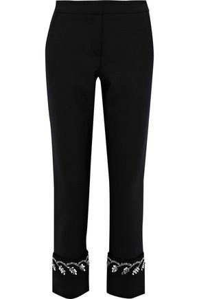 OSCAR DE LA RENTA Cropped embellished stretch-wool straight-leg pants