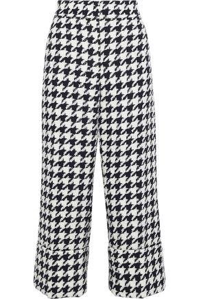 OSCAR DE LA RENTA Cropped houndstooth wool-blend tweed bootcut pants