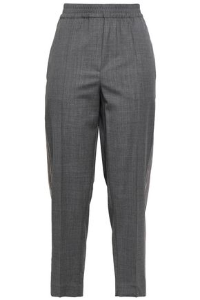 BRUNELLO CUCINELLI Bead-embellished satin-trimmed wool tapered pants