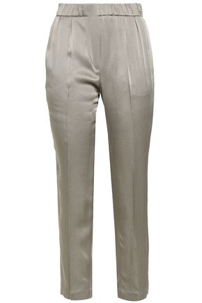 BRUNELLO CUCINELLI Satin-crepe slim-leg pants