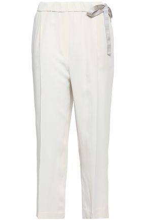 BRUNELLO CUCINELLI Lace-up cropped cady tapered pants
