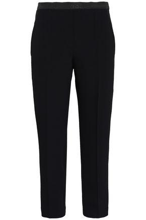 BRUNELLO CUCINELLI Cropped bead-embellished washed-crepe slim-leg pants