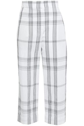 BRUNELLO CUCINELLI Cropped checked crinkled cotton-blend wide-leg pants