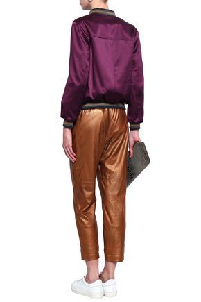 BRUNELLO CUCINELLI Cropped metallic leather straight-leg pants