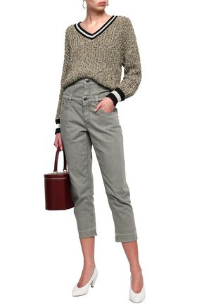 BRUNELLO CUCINELLI Cropped layered high-rise slim-leg jeans