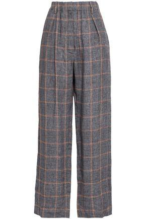 BRUNELLO CUCINELLI Checked linen wide-leg pants