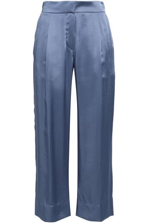 BRUNELLO CUCINELLI Pleated satin-crepe wide-leg pants