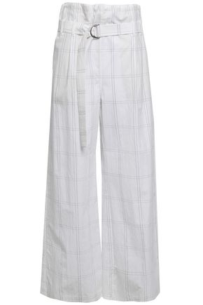 BRUNELLO CUCINELLI Belted checked cotton-blend wide-leg pants