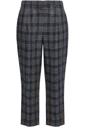 BRUNELLO CUCINELLI Sequin-embellished checked linen tapered pants