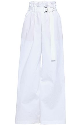 BRUNELLO CUCINELLI Belted cotton-blend poplin wide-leg pants