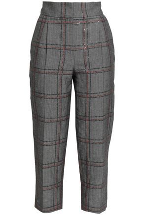 BRUNELLO CUCINELLI Sequin-embellished herringbone cotton and linen-blend tapered pants