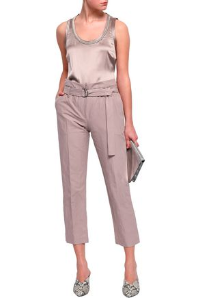 BRUNELLO CUCINELLI Cropped belted stretch-cotton poplin tapered pants