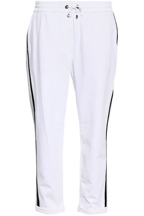 BRUNELLO CUCINELLI Striped stretch-cotton tapered pants