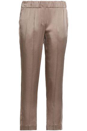 BRUNELLO CUCINELLI Satin-crepe slim-leg pants