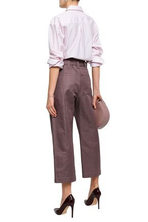 BRUNELLO CUCINELLI Cropped belted cotton and ramie-blend straight-leg pants