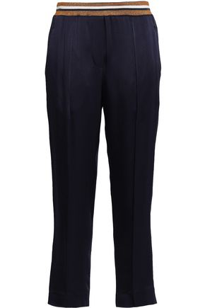 BRUNELLO CUCINELLI Cropped striped satin-crepe slim-leg pants