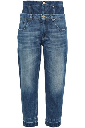 BRUNELLO CUCINELLI Frayed layered high-rise boyfriend jeans