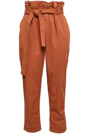 BRUNELLO CUCINELLI Cropped belted cotton-blend poplin slim-leg pants