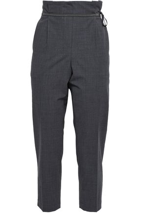 BRUNELLO CUCINELLI Bead-embellished lace-up cropped wool-blend tapered pants