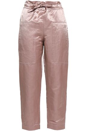 BRUNELLO CUCINELLI Cropped crinkled-satin straight-leg pants