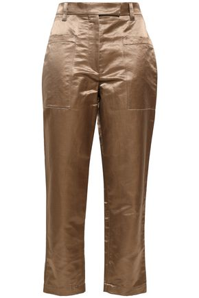 BRUNELLO CUCINELLI Linen-blend satin tapered pants