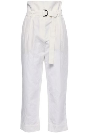 BRUNELLO CUCINELLI Belted cotton and linen-blend gabardine straight-leg pants