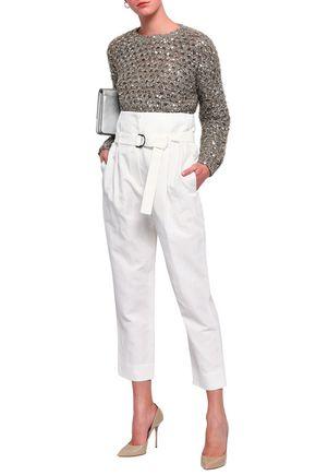 BRUNELLO CUCINELLI Belted cotton and linen-blend gabardine straight-leg pants