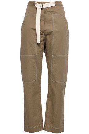 BRUNELLO CUCINELLI Belted cotton-blend gabardine straight-leg pants