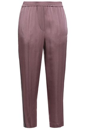 BRUNELLO CUCINELLI Cropped striped satin-crepe tapered pants