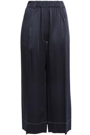 BRUNELLO CUCINELLI Cropped satin-crepe wide-leg pants