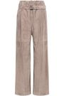 BRUNELLO CUCINELLI Belted suede wide-leg pants