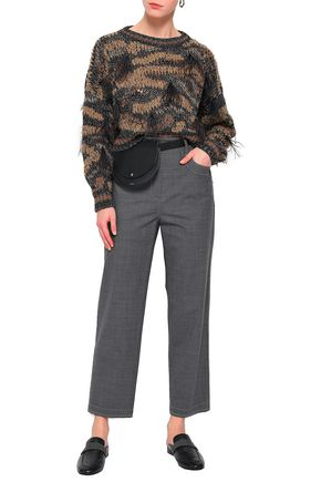 BRUNELLO CUCINELLI Cropped bead-embellished wool-blend straight-leg pants