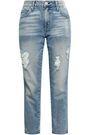 AMO Distressed faded mid-rise slim-leg jeans