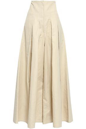 BRUNELLO CUCINELLI Pleated cotton-blend gabardine wide-leg pants