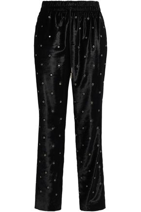 JASON WU Eyelet-embellished velvet tapered pants