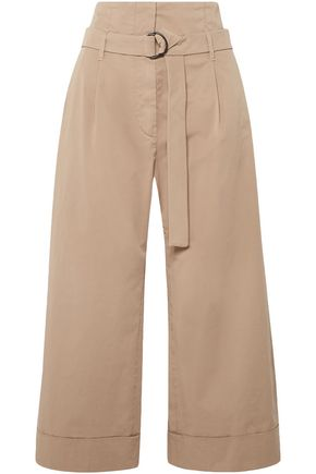 BRUNELLO CUCINELLI Cropped belted stretch-cotton poplin wide-leg pants