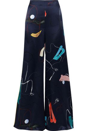 ROKSANDA Arneau printed silk-satin wide-leg pants