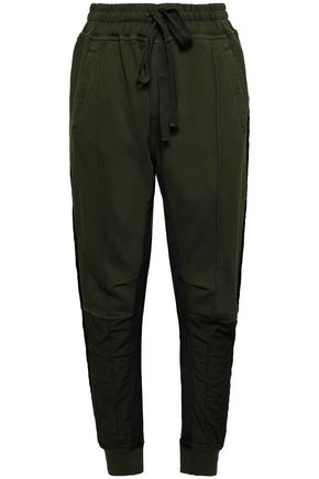 HAIDER ACKERMANN Paneled French cotton-terry and twill track pants
