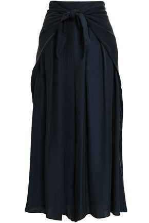 MILLY Tie-front twill wide-leg pants