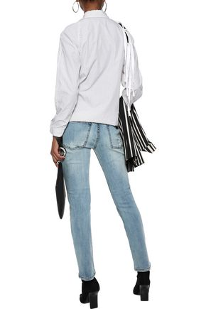 OAK Slouch distressed mid-rise skinny jeans