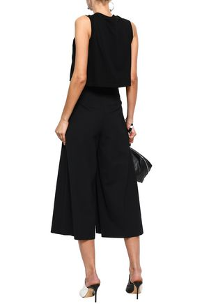ALEXANDER WANG Eyelet-embellished pleated twill culottes