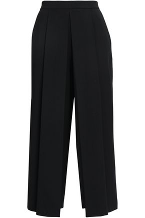 ALEXANDER WANG Cropped pleated twill wide-leg pants