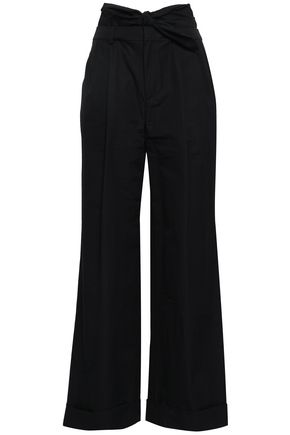 ALEXANDER WANG Knotted cotton-poplin wide-leg pants
