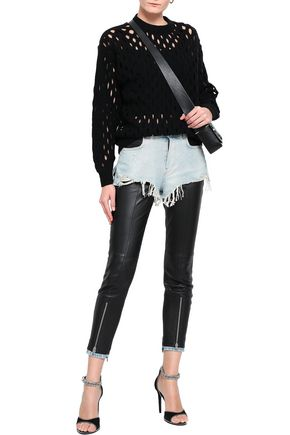 ALEXANDER WANG Layered denim and stretch-leather skinny pants