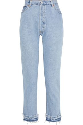 RE/DONE by LEVI'S No Tears cropped distressed high-rise straight-leg jeans