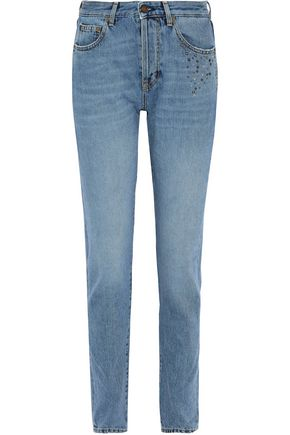 SAINT LAURENT Studded high-rise slim-leg jeans