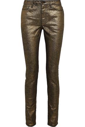 SAINT LAURENT Metallic coated mid-rise skinny jeans